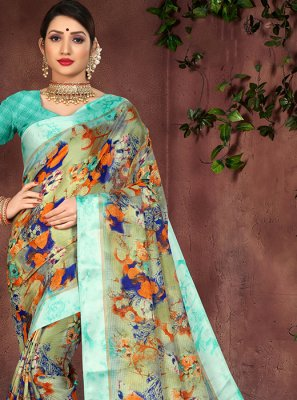 Cotton Silk Printed Multi Colour Casual Saree