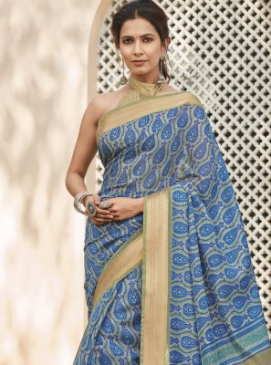 Cotton Silk Printed Multi Colour Saree