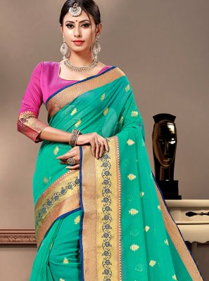 Cotton Silk Sea Green Designer Contemporary Saree