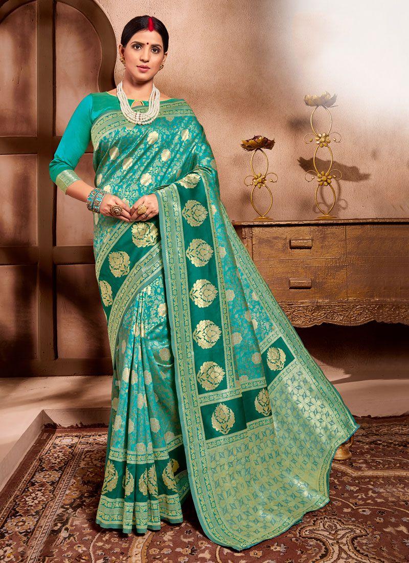 Cotton Silk Teal Casual Saree