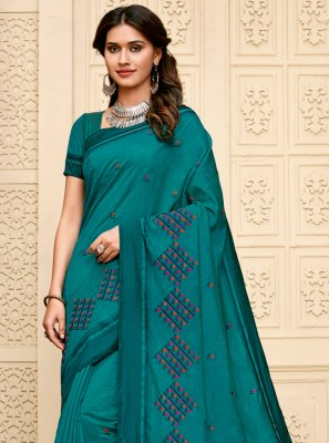Cotton Silk Teal Contemporary Saree