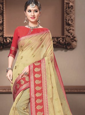 Cotton Silk Traditional Designer Saree in Cream