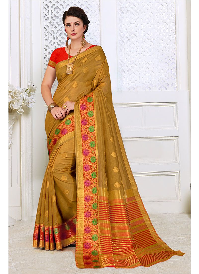 Cotton Silk Trendy Saree in Beige