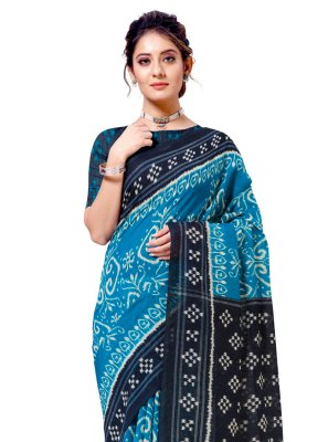 Cotton Silk Turquoise Casual Saree