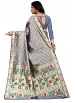 Cotton Silk Weaving Grey Classic Designer Saree