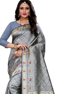 Cotton Silk Weaving Grey Classic Designer Saree