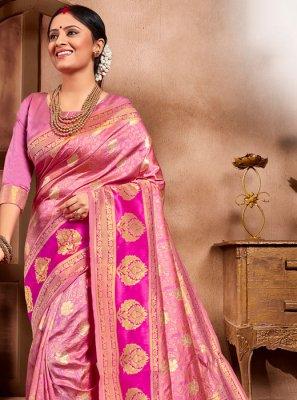 Cotton Silk Weaving Pink Casual Saree