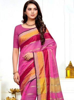 Cotton Silk Weaving Pink Saree