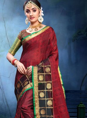 Cotton Silk Weaving Saree in Maroon