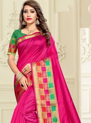 Cotton Silk Weaving Saree in Pink
