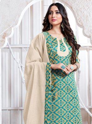 Cotton Silk Weaving Trendy Salwar Suit in Green