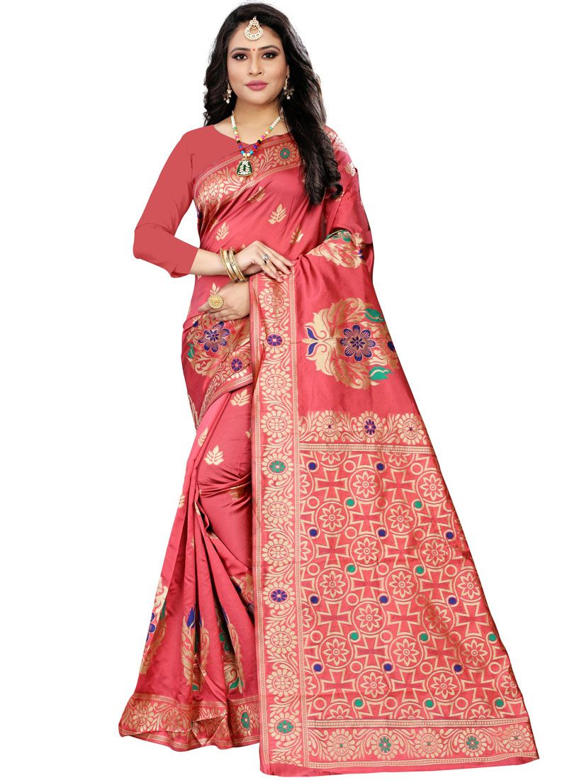Cotton Silk Woven Casual Saree in Pink
