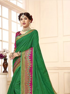 Cotton Silk Woven Green Casual Saree