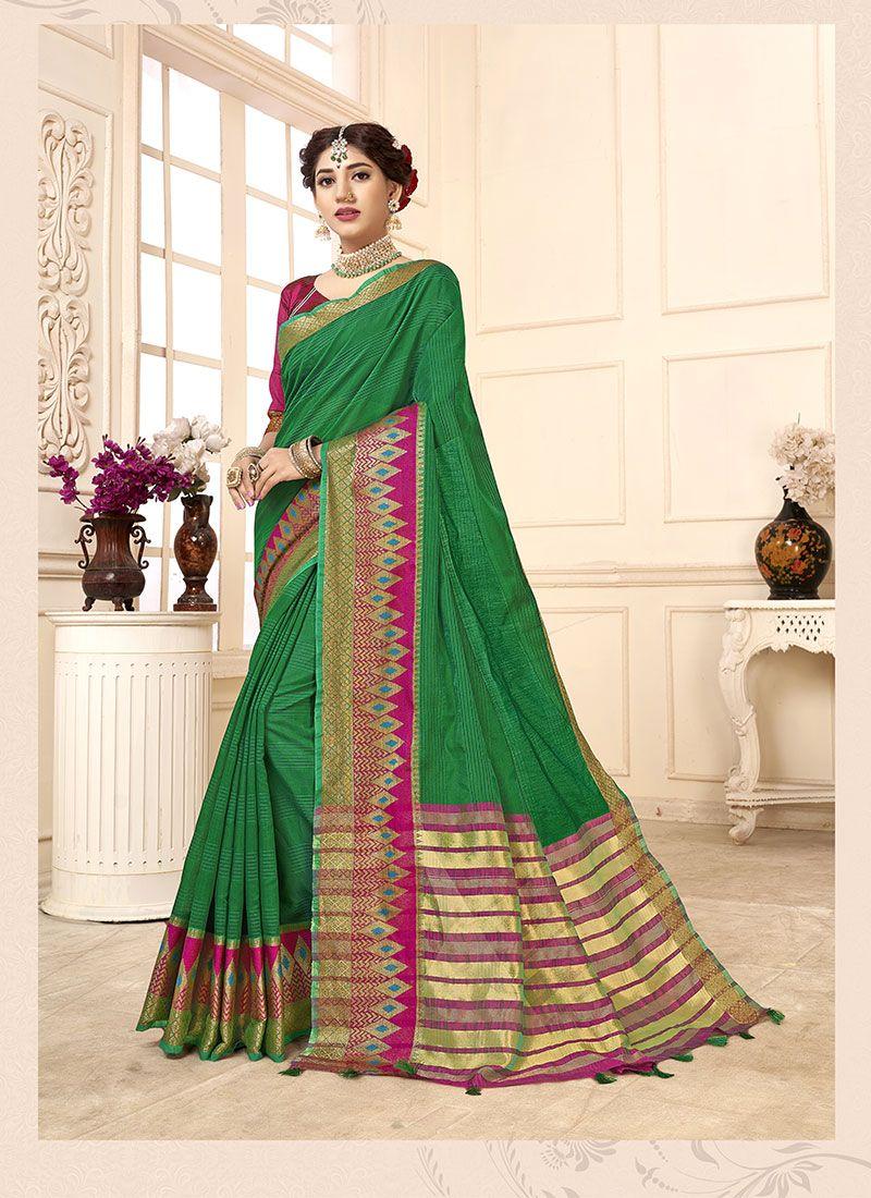 Cotton Silk Woven Green Casual Saree