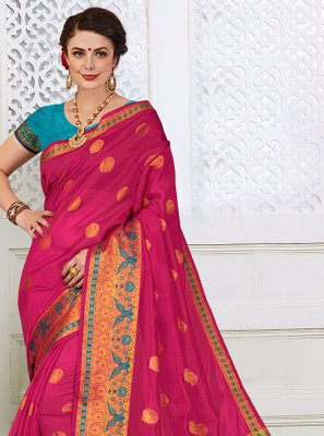 Cotton Silk Woven Hot Pink Designer Saree