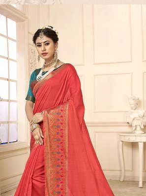 Cotton Silk Woven Peach Casual Saree