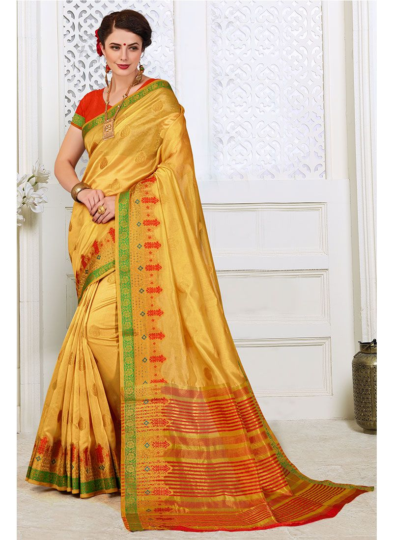 Cotton Silk Woven Silk Saree in Yellow