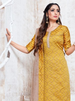 Cotton Silk Yellow Pant Style Suit