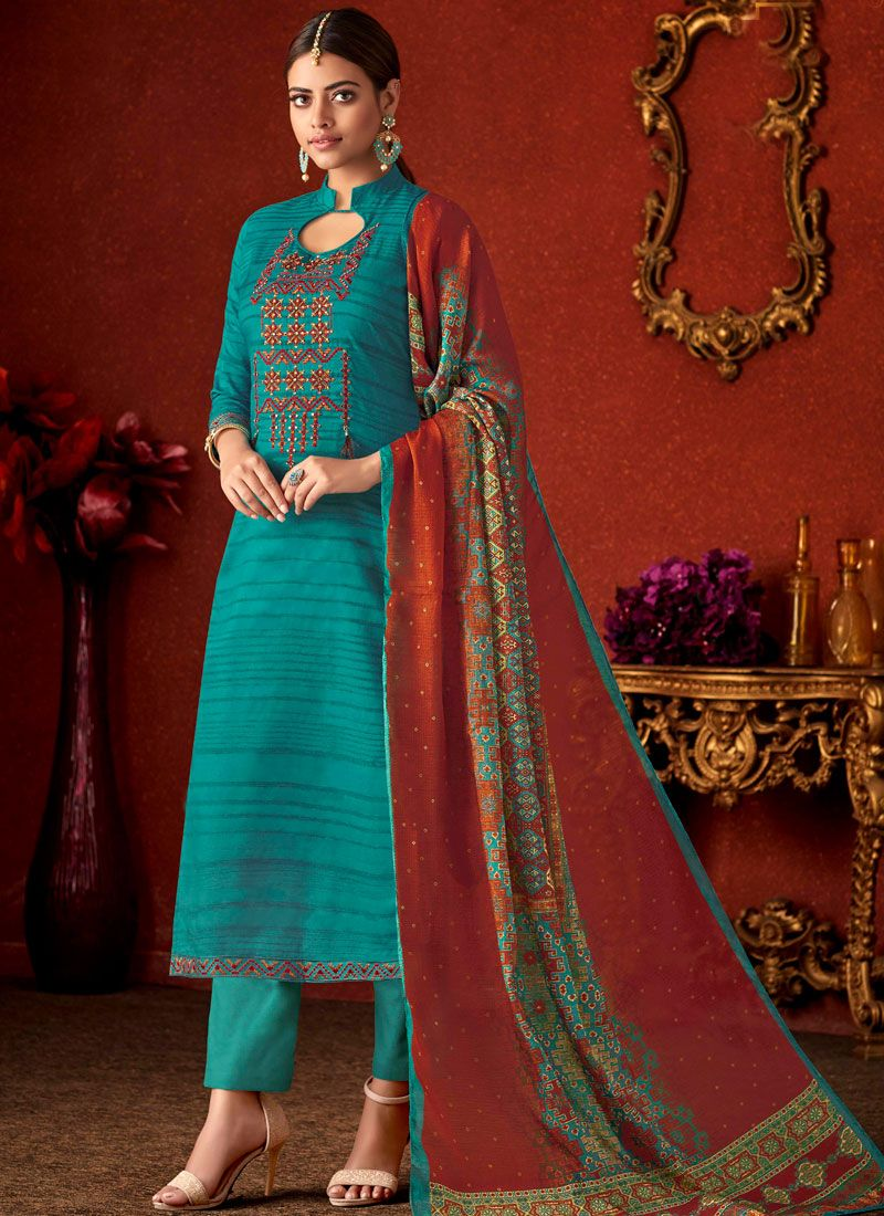 Cotton Teal Embroidered Pant Style Suit