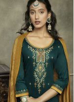 Cotton Teal Embroidered Salwar Suit