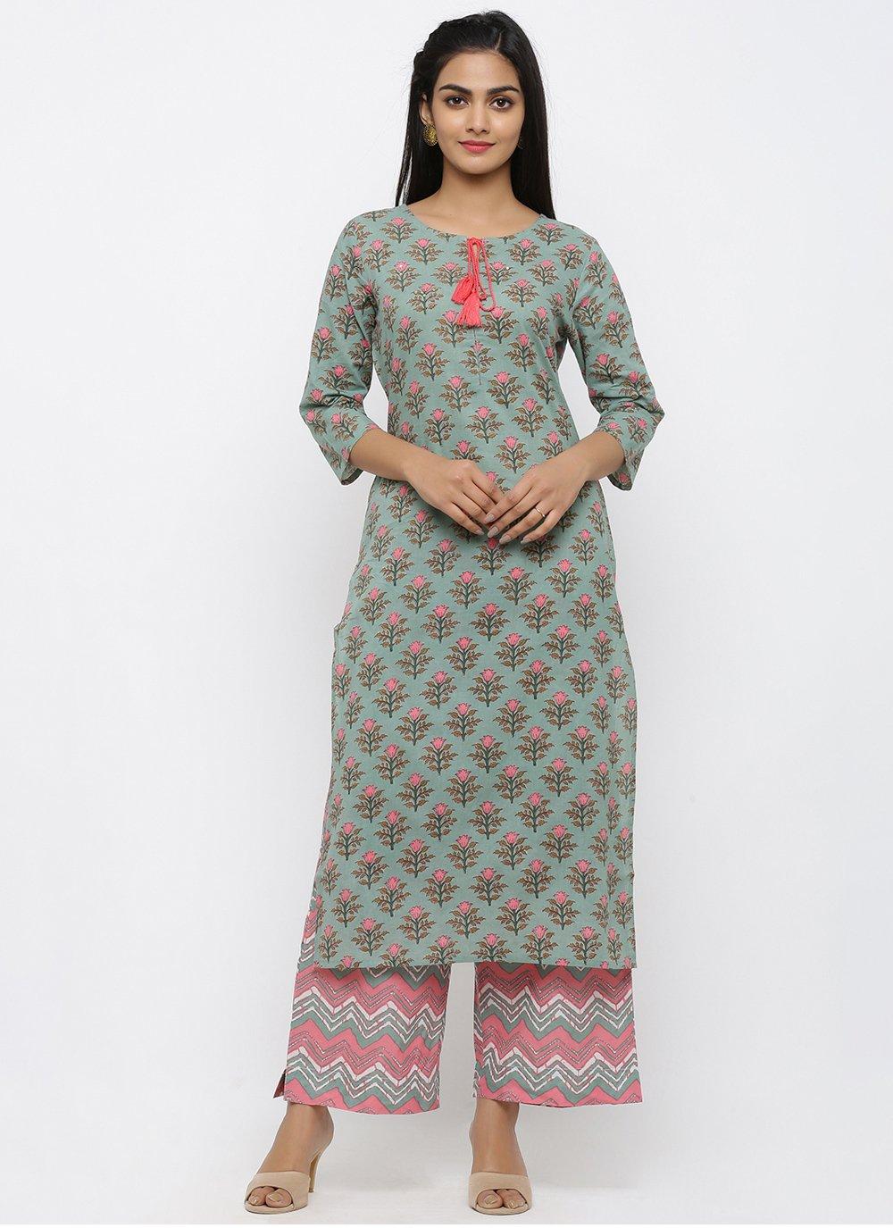 Cotton Teal Salwar Suit