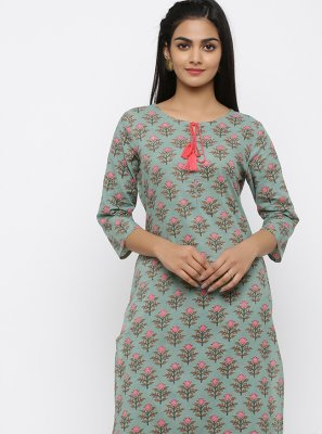 Cotton Teal Salwar Suit