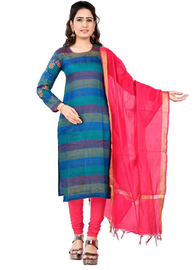 Cotton Thread Blue Designer Salwar Kameez