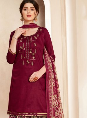 Cotton Thread Maroon Salwar Suit
