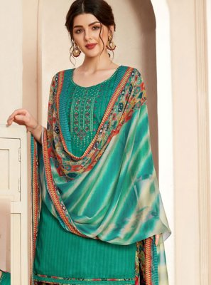 Cotton Thread Salwar Suit in Green
