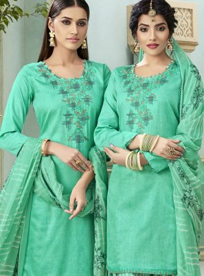 Cotton Thread Sea Green Patiala Suit