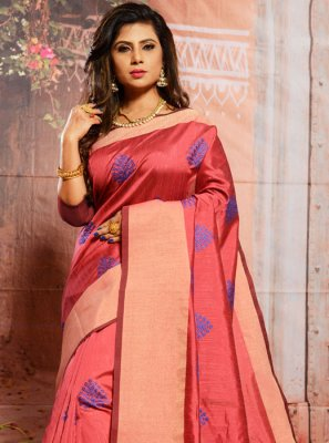 Cotton Thread Trendy Saree in Pink
