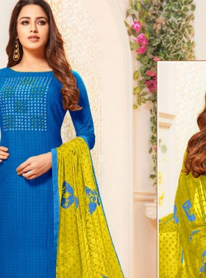 Cotton Thread Work Blue Churidar Salwar Suit