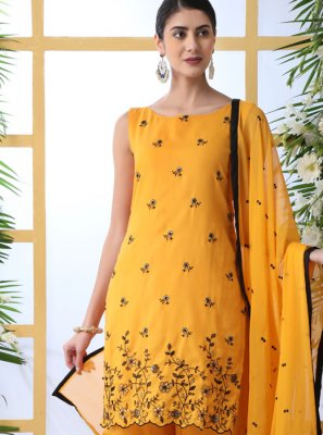 Cotton Thread Work Designer Palazzo Suit