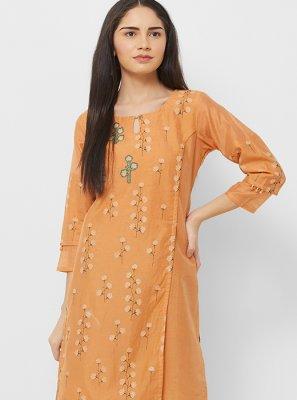 Cotton Thread Work Orange Party Wear Kurti
