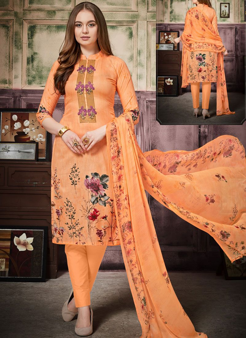 Cotton Thread Work Pant Style Suit