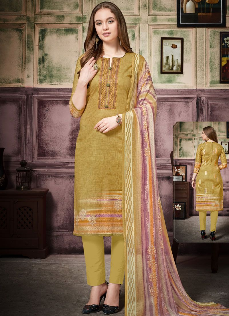 Cotton Thread Work Pant Style Suit in Green