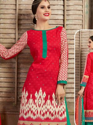 Cotton Thread Work Red Palazzo Salwar Kameez