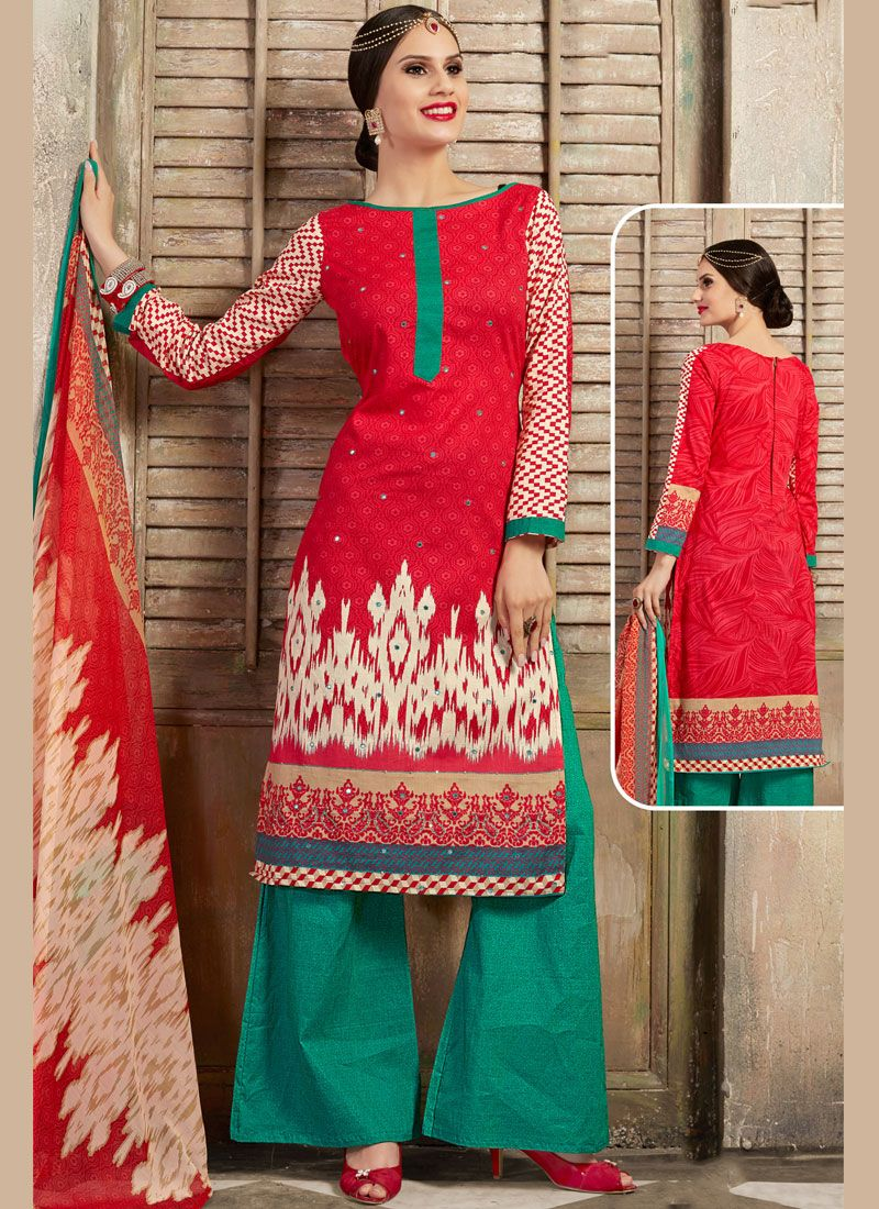 Cotton Thread Work Red Palazzo Salwar Kameez