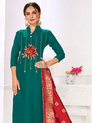 Cotton Thread Work Teal Churidar Salwar Kameez