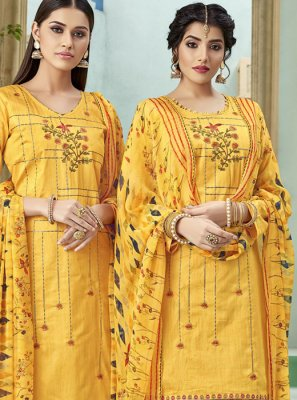 Cotton Thread Yellow Punjabi Suit