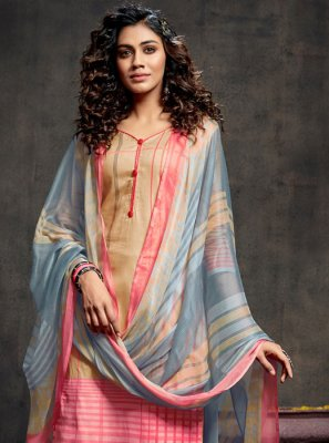 Cotton Trendy Palazzo Salwar Kameez in Multi Colour