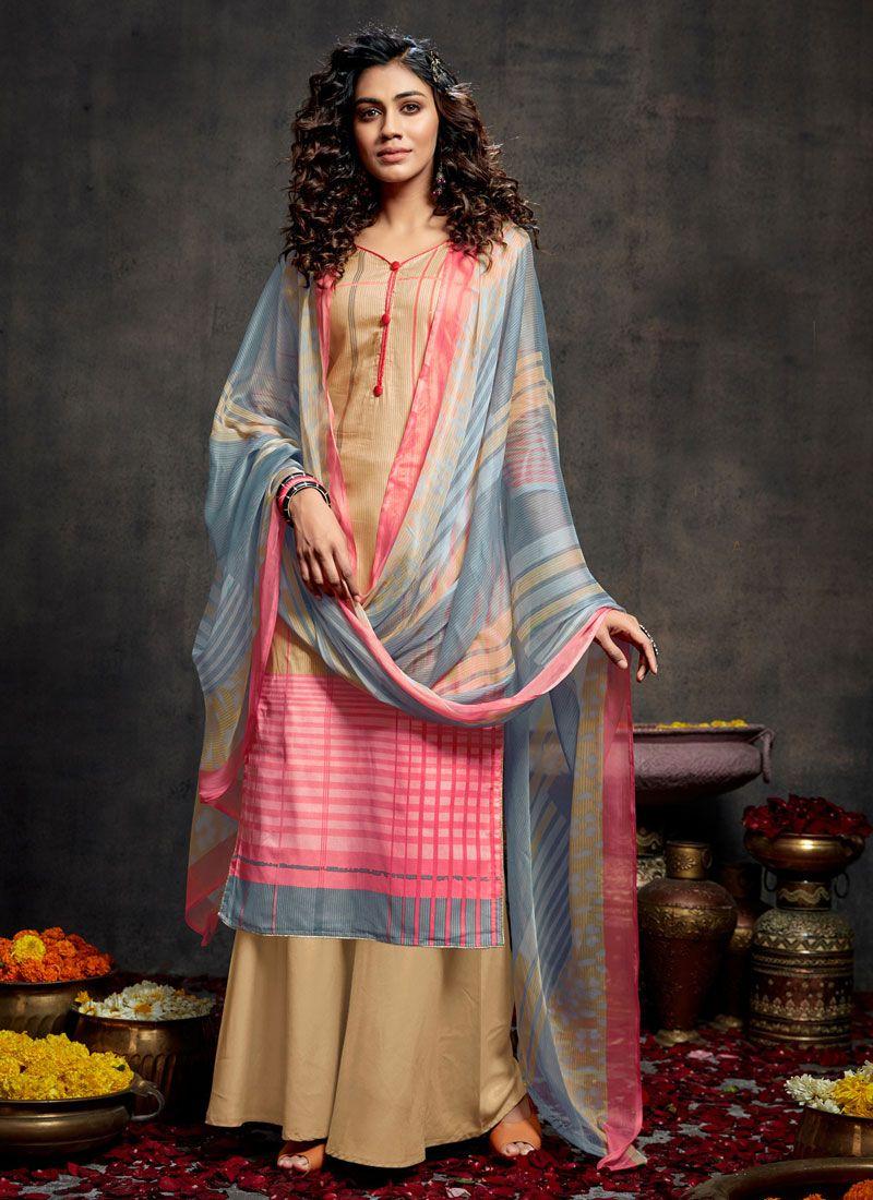 Cotton Trendy Palazzo Salwar Kameez in Multi Colour
