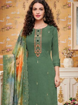 Cotton Trendy Palazzo Salwar Kameez in Sea Green