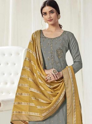 Cotton Trendy Salwar Suit in Grey