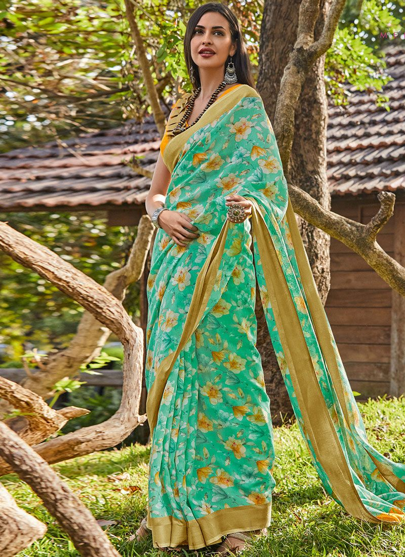 Cotton Trendy Saree in Green
