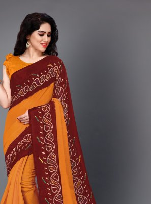 Cotton Trendy Saree in Maroon and Orange