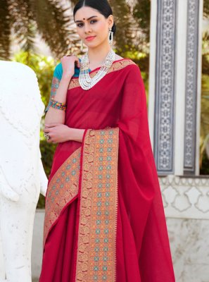 Cotton Trendy Saree in Red