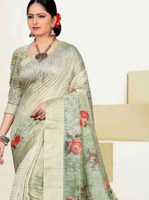 Cotton Trendy Saree in Sea Green