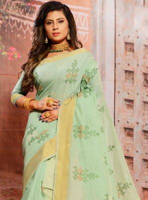Cotton Turquoise Trendy Saree