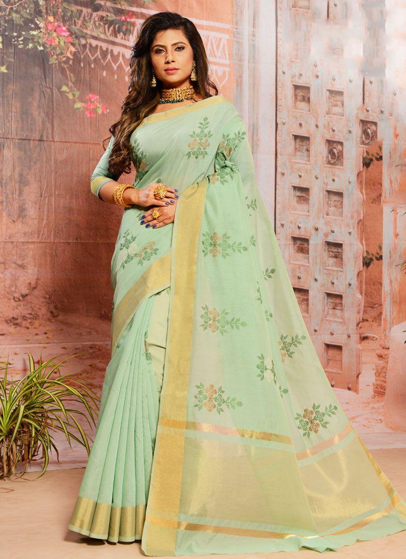 Cotton Turquoise Trendy Saree